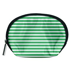 Horizontal Stripes Green Accessory Pouches (medium)  by Mariart
