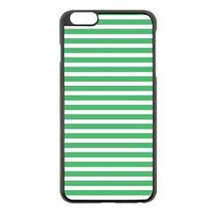 Horizontal Stripes Green Apple Iphone 6 Plus/6s Plus Black Enamel Case by Mariart