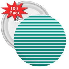 Horizontal Stripes Green Teal 3  Buttons (100 Pack)  by Mariart