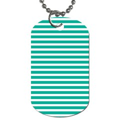 Horizontal Stripes Green Teal Dog Tag (one Side) by Mariart