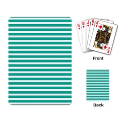 Horizontal Stripes Green Teal Playing Card by Mariart