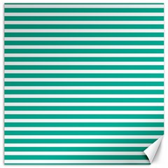 Horizontal Stripes Green Teal Canvas 12  X 12   by Mariart