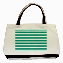 Horizontal Stripes Green Teal Basic Tote Bag (two Sides) by Mariart