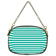 Horizontal Stripes Green Teal Chain Purses (one Side)  by Mariart