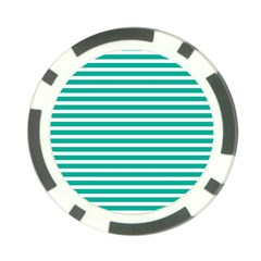 Horizontal Stripes Green Teal Poker Chip Card Guard (10 Pack) by Mariart