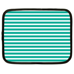 Horizontal Stripes Green Teal Netbook Case (xxl)  by Mariart