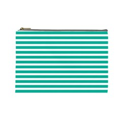 Horizontal Stripes Green Teal Cosmetic Bag (large)