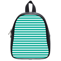 Horizontal Stripes Green Teal School Bags (small)  by Mariart