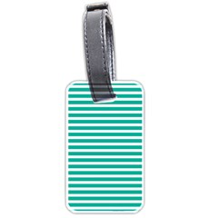 Horizontal Stripes Green Teal Luggage Tags (two Sides) by Mariart