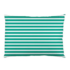 Horizontal Stripes Green Teal Pillow Case (two Sides) by Mariart