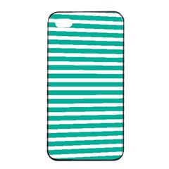 Horizontal Stripes Green Teal Apple Iphone 4/4s Seamless Case (black) by Mariart
