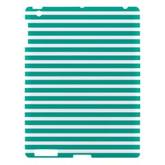 Horizontal Stripes Green Teal Apple Ipad 3/4 Hardshell Case by Mariart