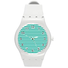Horizontal Stripes Green Teal Round Plastic Sport Watch (m) by Mariart