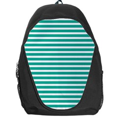 Horizontal Stripes Green Teal Backpack Bag by Mariart