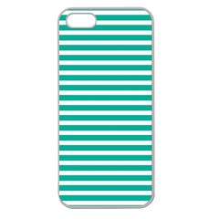 Horizontal Stripes Green Teal Apple Seamless Iphone 5 Case (clear) by Mariart