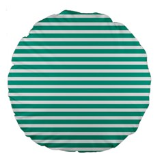Horizontal Stripes Green Teal Large 18  Premium Round Cushions by Mariart