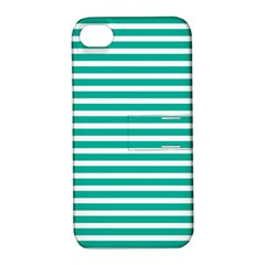 Horizontal Stripes Green Teal Apple Iphone 4/4s Hardshell Case With Stand by Mariart