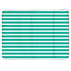 Horizontal Stripes Green Teal Samsung Galaxy Tab 7  P1000 Flip Case by Mariart