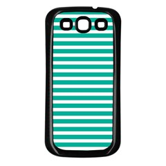 Horizontal Stripes Green Teal Samsung Galaxy S3 Back Case (black) by Mariart