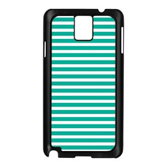 Horizontal Stripes Green Teal Samsung Galaxy Note 3 N9005 Case (black)