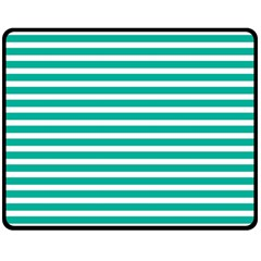 Horizontal Stripes Green Teal Double Sided Fleece Blanket (medium)  by Mariart