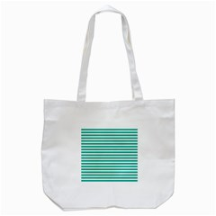 Horizontal Stripes Green Teal Tote Bag (white) by Mariart