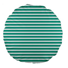 Horizontal Stripes Green Teal Large 18  Premium Flano Round Cushions by Mariart