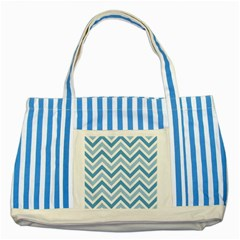 Zig Zags Pattern Striped Blue Tote Bag by Valentinaart
