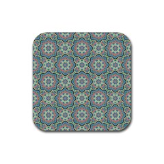 Decorative Ornamental Geometric Pattern Rubber Square Coaster (4 Pack)  by TastefulDesigns