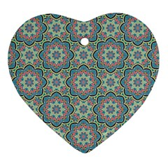 Decorative Ornamental Geometric Pattern Heart Ornament (two Sides) by TastefulDesigns