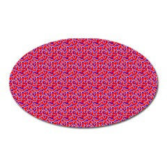 Red White And Blue Leopard Print  Oval Magnet by PhotoNOLA