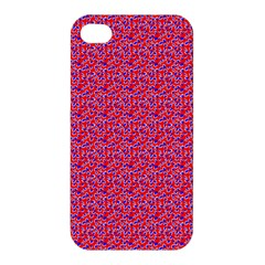 Red White And Blue Leopard Print  Apple Iphone 4/4s Premium Hardshell Case by PhotoNOLA