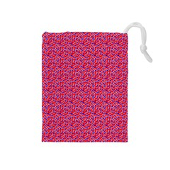 Red White And Blue Leopard Print  Drawstring Pouches (medium)  by PhotoNOLA