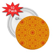 Solar Mandala  Orange Rangoli  2 25  Button (10 Pack) by bunart