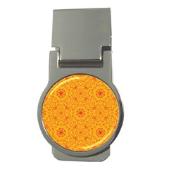 Solar Mandala  Orange Rangoli  Money Clip (round)