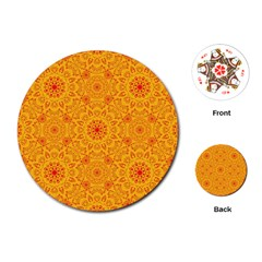 Solar Mandala  Orange Rangoli  Playing Cards (round) by bunart