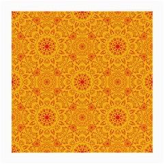 Solar Mandala  Orange Rangoli  Medium Glasses Cloth by bunart