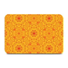 Solar Mandala  Orange Rangoli  Plate Mat by bunart