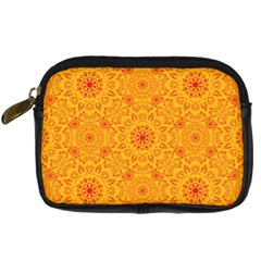 Solar Mandala  Orange Rangoli  Digital Camera Leather Case by bunart