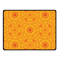 Solar Mandala  Orange Rangoli  Fleece Blanket (small) by bunart