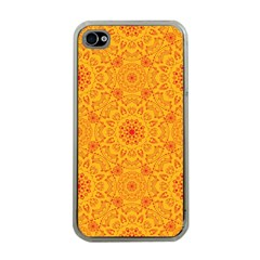 Solar Mandala  Orange Rangoli  Apple Iphone 4 Case (clear) by bunart