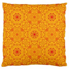 Solar Mandala  Orange Rangoli  Large Cushion Case (one Side) by bunart