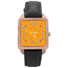 Solar Mandala  Orange Rangoli  Rose Gold Leather Watch