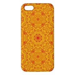 Solar Mandala  Orange Rangoli  Iphone 5s/ Se Premium Hardshell Case by bunart