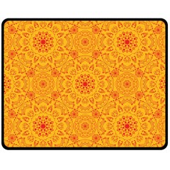 Solar Mandala  Orange Rangoli  Double Sided Fleece Blanket (medium) by bunart