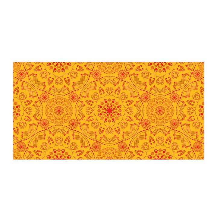 Solar mandala. Orange rangoli. Satin Wrap