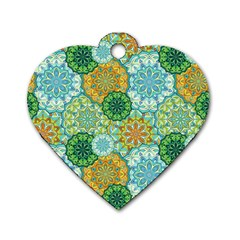 Forest Spirits  Green Mandalas  Dog Tag Heart (two Sides) by bunart