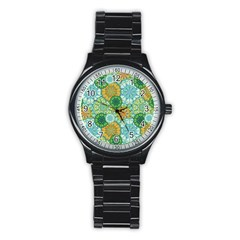 Forest Spirits  Green Mandalas  Stainless Steel Round Watch by bunart
