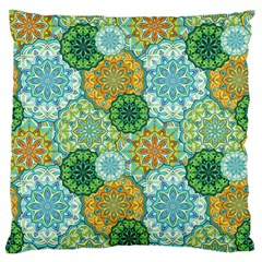 Forest Spirits  Green Mandalas  Large Flano Cushion Case (two Sides) by bunart