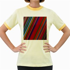 Color Stripes Pattern Women s Fitted Ringer T Shirts